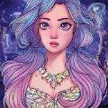 女孩彩色绘画